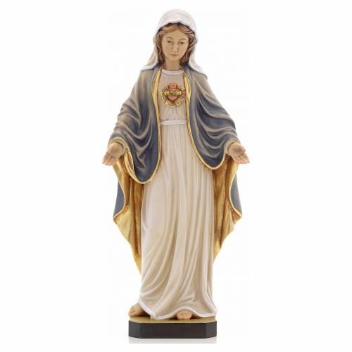 Statue bois sacré coeur de Marie peinte s1