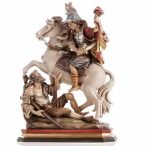 Statue bois St Martin et le pauvre peinte s7