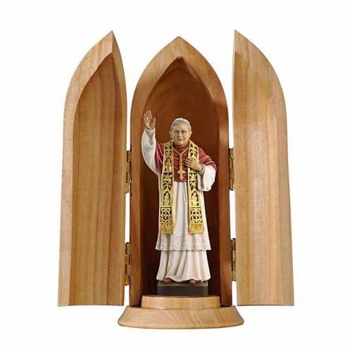 Statue Pape Benoit XVI dans niche bois peint s1