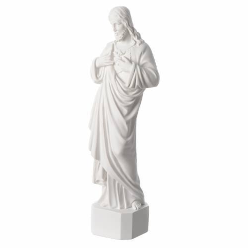 Statue Sacré Coeur de Jésus marbre reconstitué blanc 42 cm s2