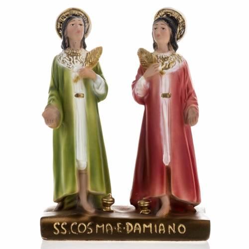 Statue Saints Côme et Damien plâtre 20 cm s1