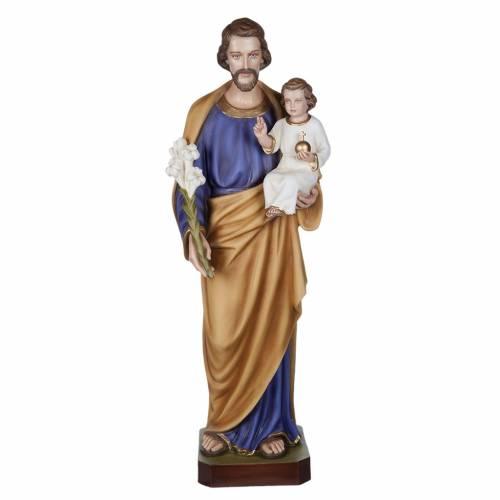 Statue St Joseph à l'enfant marbre 100cm peinte s1