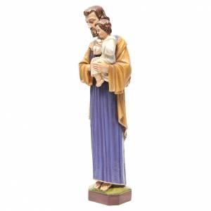 Statue St Joseph à l'enfant marbre 65cm peinte pour l'extérieur s2