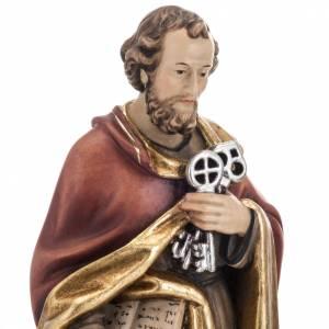 Statue St Pierre avec les clés 31 cm bois peint s2