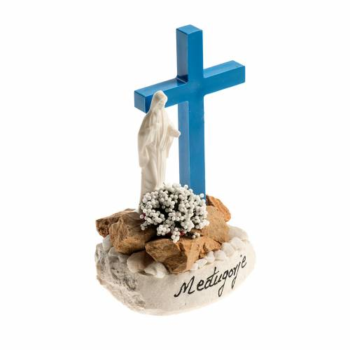 Statue with blue cross Medjugorje s2