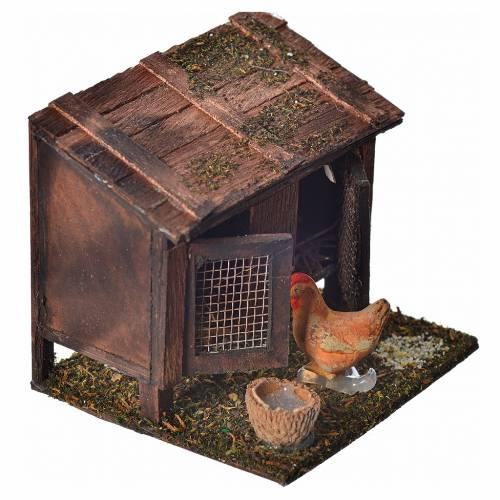 Stia con galline terracotta 6x7x6 cm presepe Napoli s2