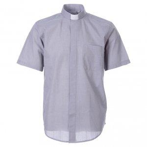 Camisas Clergyman: STOCK Camisa clergy corta fil a fil gris claro
