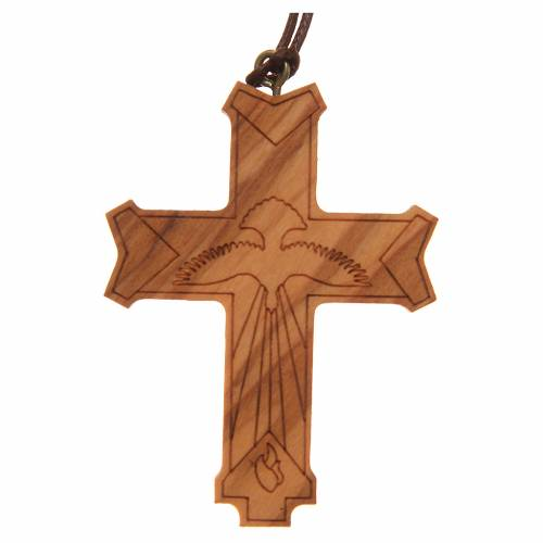 STOCK Mould Cross olive wood Holy Spirit 6x4,5cm s1