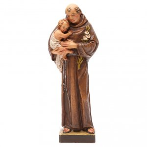 Hand painted wooden statues: STOCK Saint Anthony statue painted wood paste 31 cm