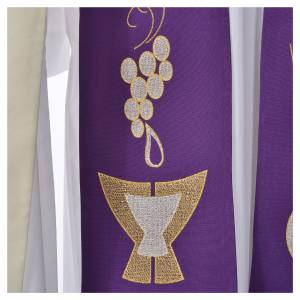 Stole, 80% polyester 20% wool with chalice grapes decoration s3