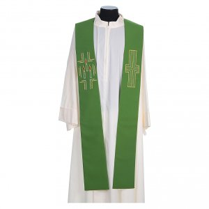 Stole in 100% polyester with cross and candles s2
