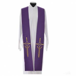 Stole in 100% polyester with IHS, cross and ears of wheat s3