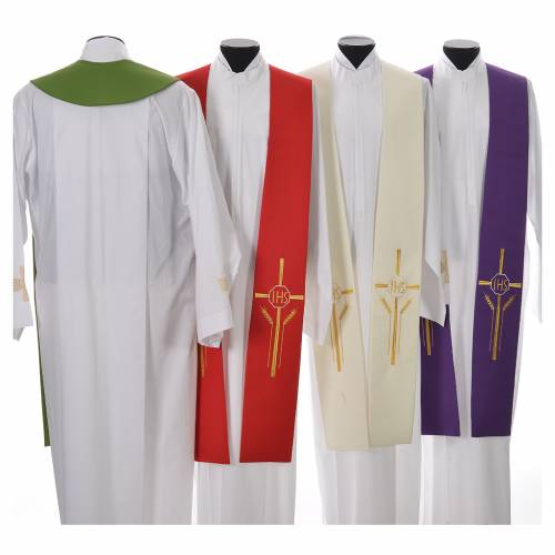 Stole in 100% polyester with IHS, cross and ears of wheat s2