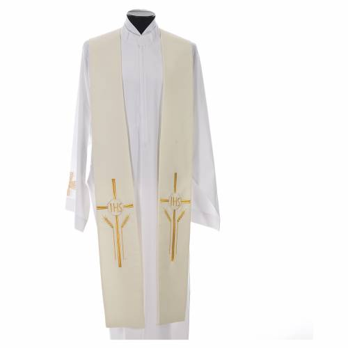 Stole in 100% polyester with IHS, cross and ears of wheat s4