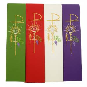 Stoles: Stole in polyester with chalice, Eucharist, grapes and ear of wh