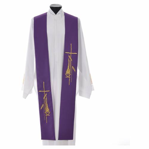 Stole in polyester with stylised cross and lamp s3