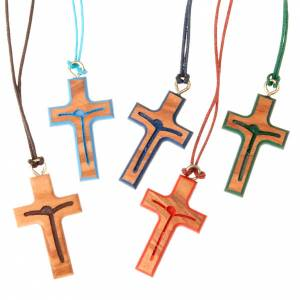 Wooden cross pendants: Stylised coloured pendant cross