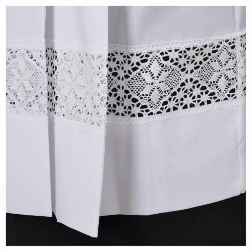 Surplis blanc 100% polyester entretoile dentelle 4 plis s5