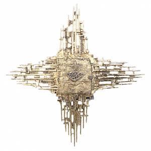 Tabernacolo da parete ottone fuso oro croce schizzi s1