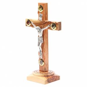 Table Crucifix olive wood Holy Land earth & seeds 23cm s2