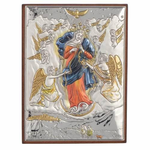 Tableau Marie qui défait les noeuds argent coloré 8x11cm s1