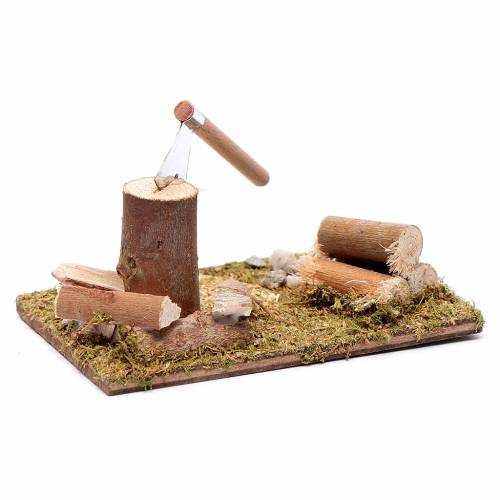 Taglialegna e tronchi su base campo accessori presepe 5x10x5 cm s2