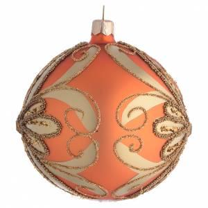 Tannenbaumkugeln: Tannenbaukugel orangen Glas und goldenen Deko 100mm