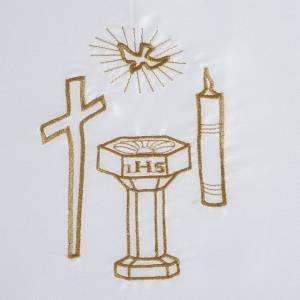 Taufkleidungen und Taufkerzen: Taufkleid aus Satin, dekorative Elementen