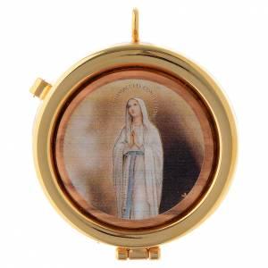 Teca eucaristica ulivo Lourdes in preghiera diam. 6 cm s1