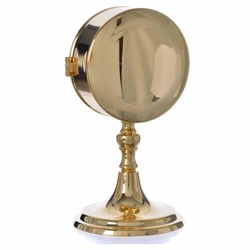 Teca porta ostie con lunetta ottone dorato diam 10 cm s2