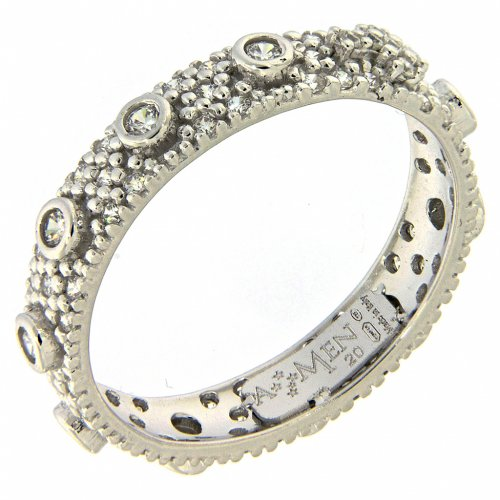 Ten-Beads AMEN rhodium-plated silver 925, white zircons s1