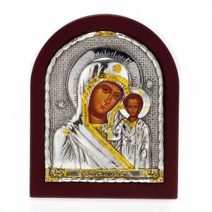 Holz, Stein gedruckte Ikonen: Tischikone mit Druck Madonna und Kind