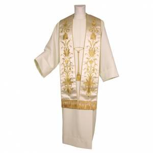 Étoles liturgiques: Étole brodée main avec décors couleur or pure soie