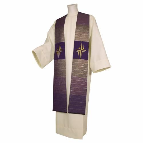 Étole croix stylisée laine double retors s4