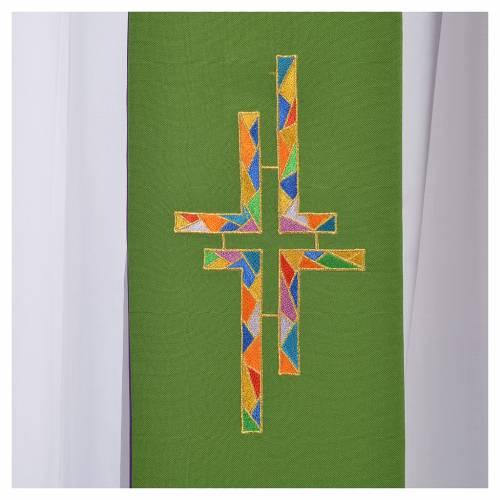 Étole liturgique double face vert violet croix colorées s4
