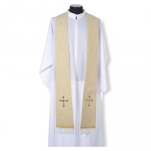 Étole liturgique lurex croix avec pierres en verre s4
