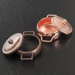 Hauszubehör für Krippe: Töpfchen aus Metall knupferfarbig 2 Stk.