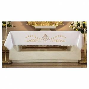 Tovaglia per altare 165x300 cm fiammelle e colomba centrale s1