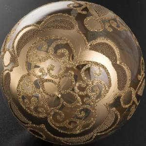 Transparent and gold Christmas blown glass ball 10cm s4