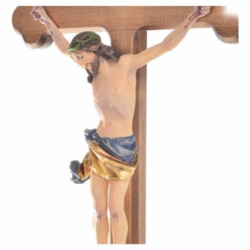 Trefoil crucifix, in coloured Valgardena wood s2