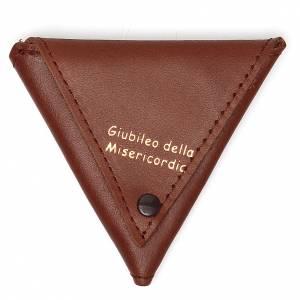 Porte-clés: Étui à chapelet triangle cuir brun Jubilé