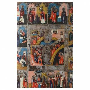 Ancient Russian icons: Twelve Feasts and Resurrection antique Russian icon 35x30cm, XIX century
