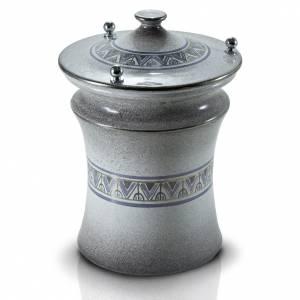 Urna cineraria cerámica perillas latón gris difumi s1