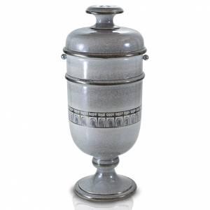 Urna cineraria ceramica perla con platino s1
