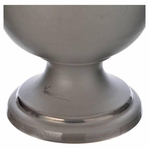 Urna cineraria in ceramica grigio chiaro s3