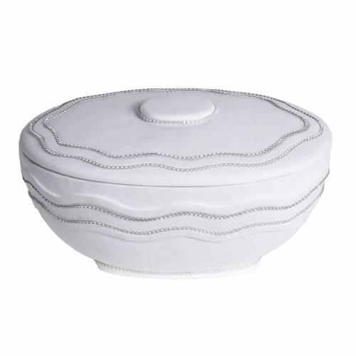 Urna funeraria redonda en mármol blanco y Swarovski s1