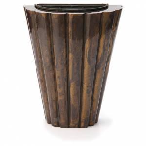 Vase fleur cimetière laiton bronzé lignes droites s1