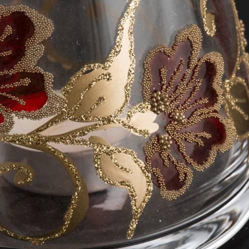 Vaso Porta vela de navidad, vidrio rojo y dorado s3