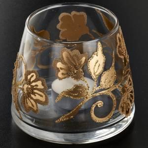 Vaso porta vela de vidrio pintado a mano s2