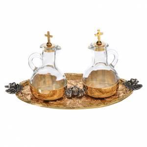Vassoio ampolline acqua e vino fusione di ottone s1